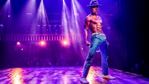 Shirtless performer on stage during Magic Mike Live at Hard Rock Hotel & Casino Las Vegas