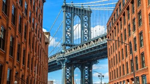 New York bridge seen through two buildings
