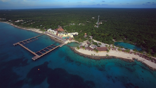 Aerial view of beautiful Cozumel waters