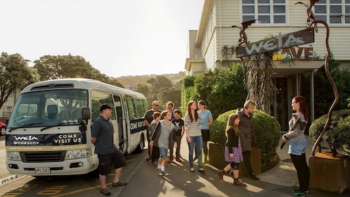 Tour group outside the Weta Workshop in Wellington