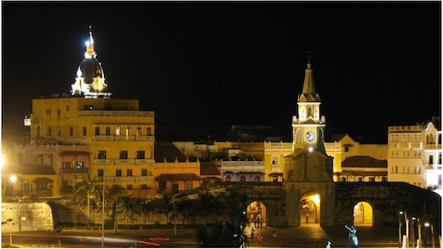 Colombian plaza at night