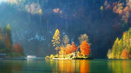 View of the lake at the Bavarian Alps