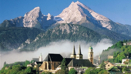 Stunning view of the mountains and city in Berchtesgaden