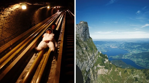 Combo image of two men sliding in a Salt mine and the Bavarian Alps