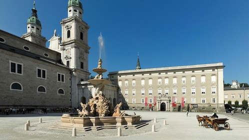 Fountain in a courtyard of a large building in Salzburg