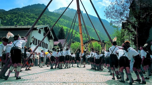 Men in lederhosen raising a maypole in Salzburg