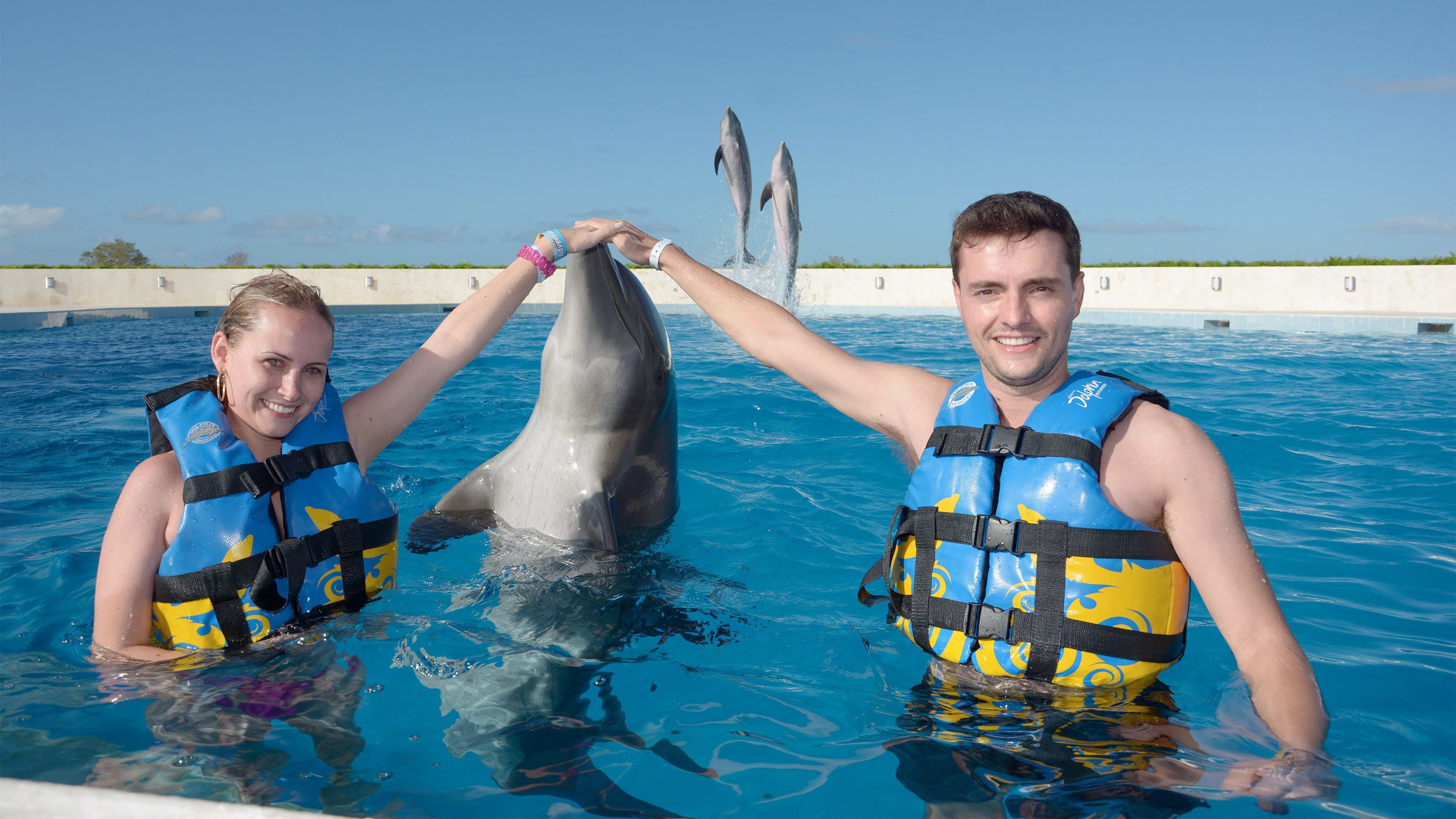 Couple on the Dolphin Swim Adventure in Punta Cana