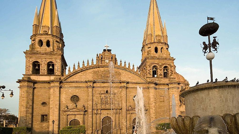 Guadalajara cathedral with fountains in front in Guadalajara.