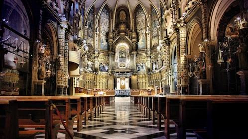 Beautiful interior of Santa Maria Abbey in Montserrat