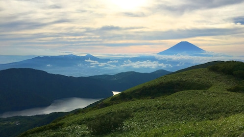 Mt. Fuji with rolling green hills