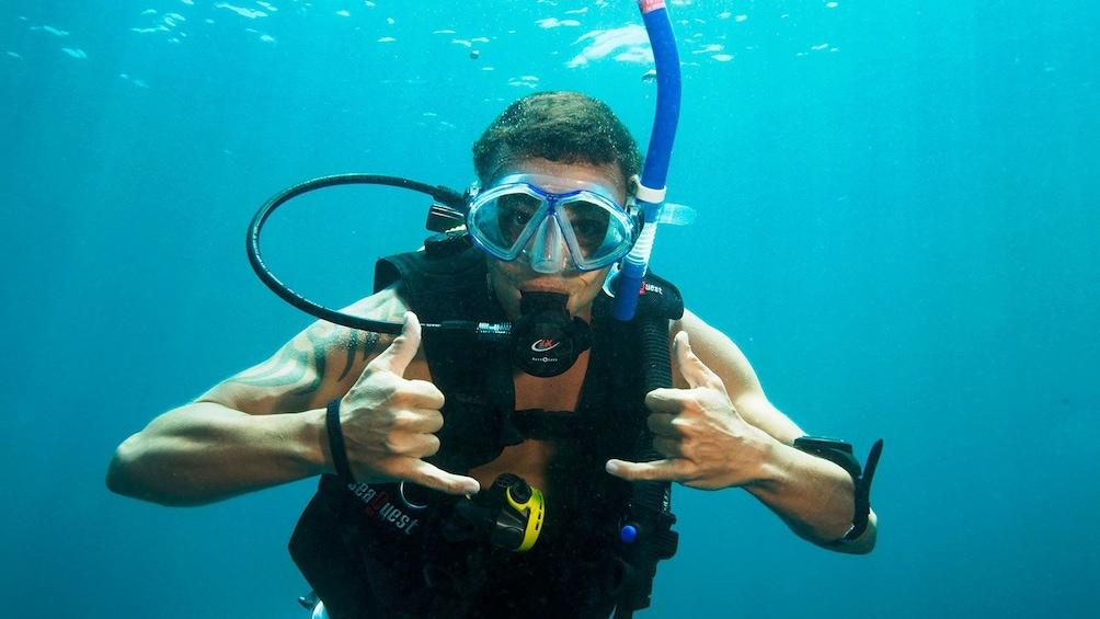 Show item 1 of 8. Scuba diver posing for camera while diving around Moreton Island