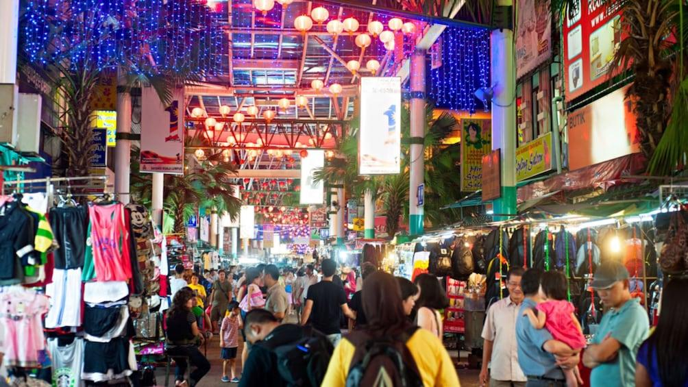 Crowded shopping district in Kuala Lumpur