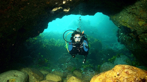 Scuba diver swimming through underwater archway around Hen Island