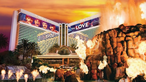 Mirage Hotel at night with volcano show in Las Vegas