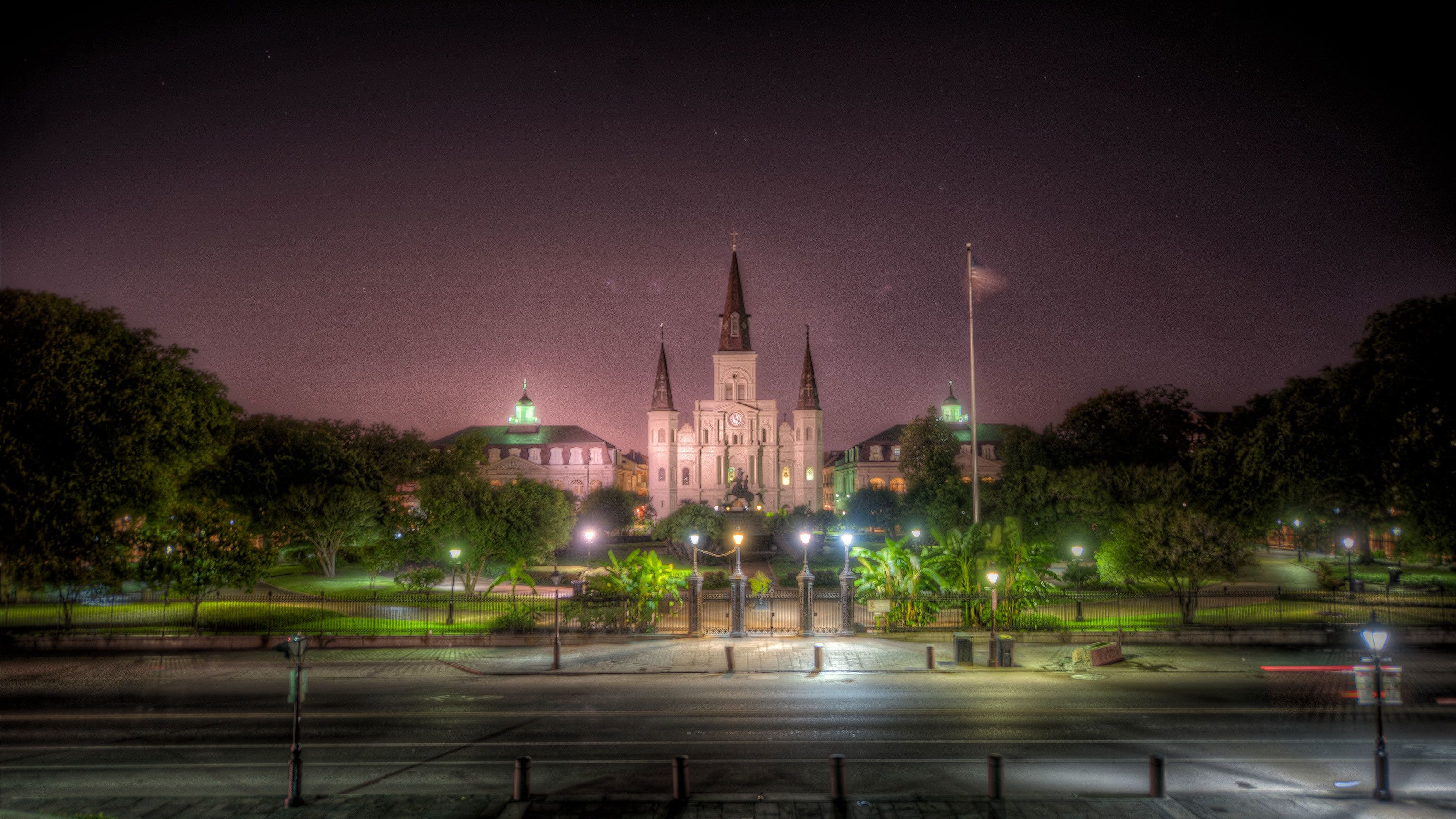 St. Louis Cathedral at a distance at night in New Orleans