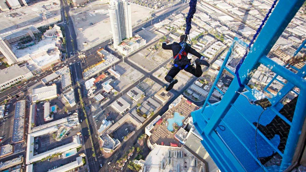Man jumping from the Stratosphere in Las Vegas