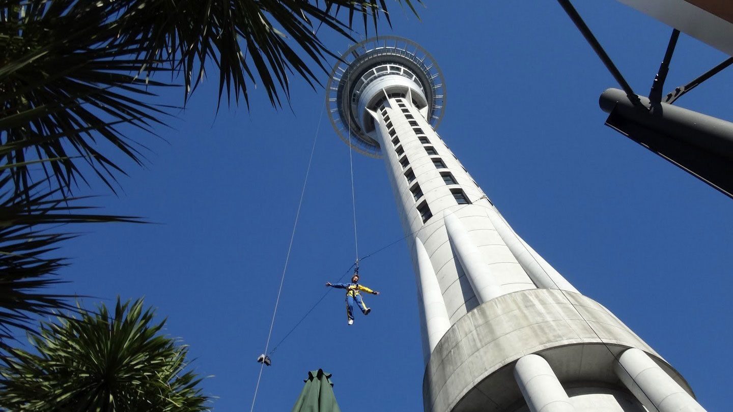 Skyjumper on a rope at the Stratosphere in Las Vegas