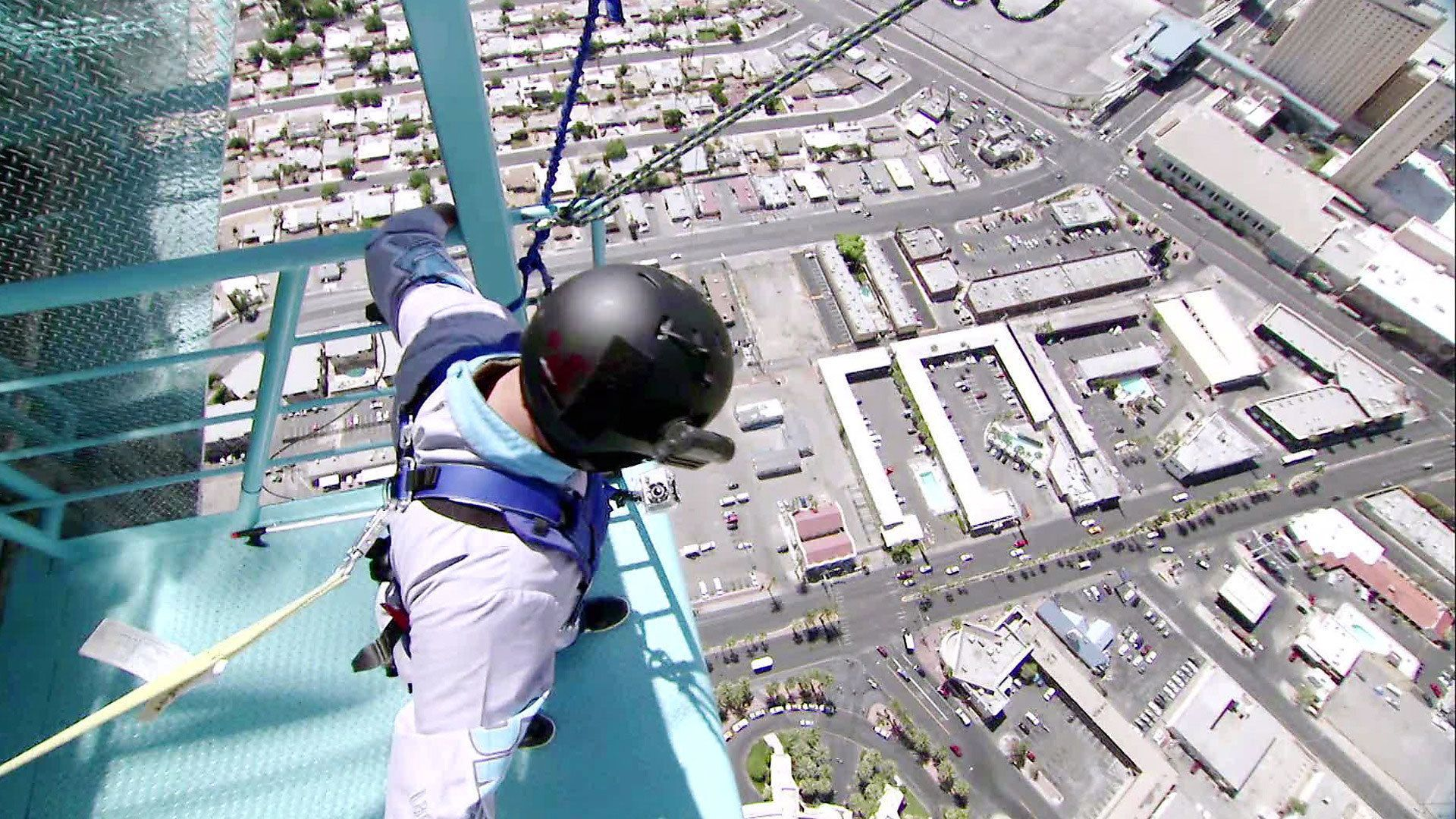 Man about to jump from the Stratosphere in Las Vegas