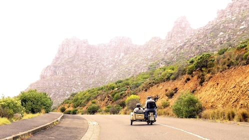 Motorcycle and sidecar on road in Cape Town