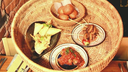 A basket of plates of food
