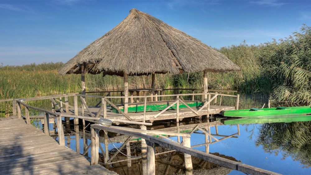Thatched roof over a floating dock on the river delta in Romania