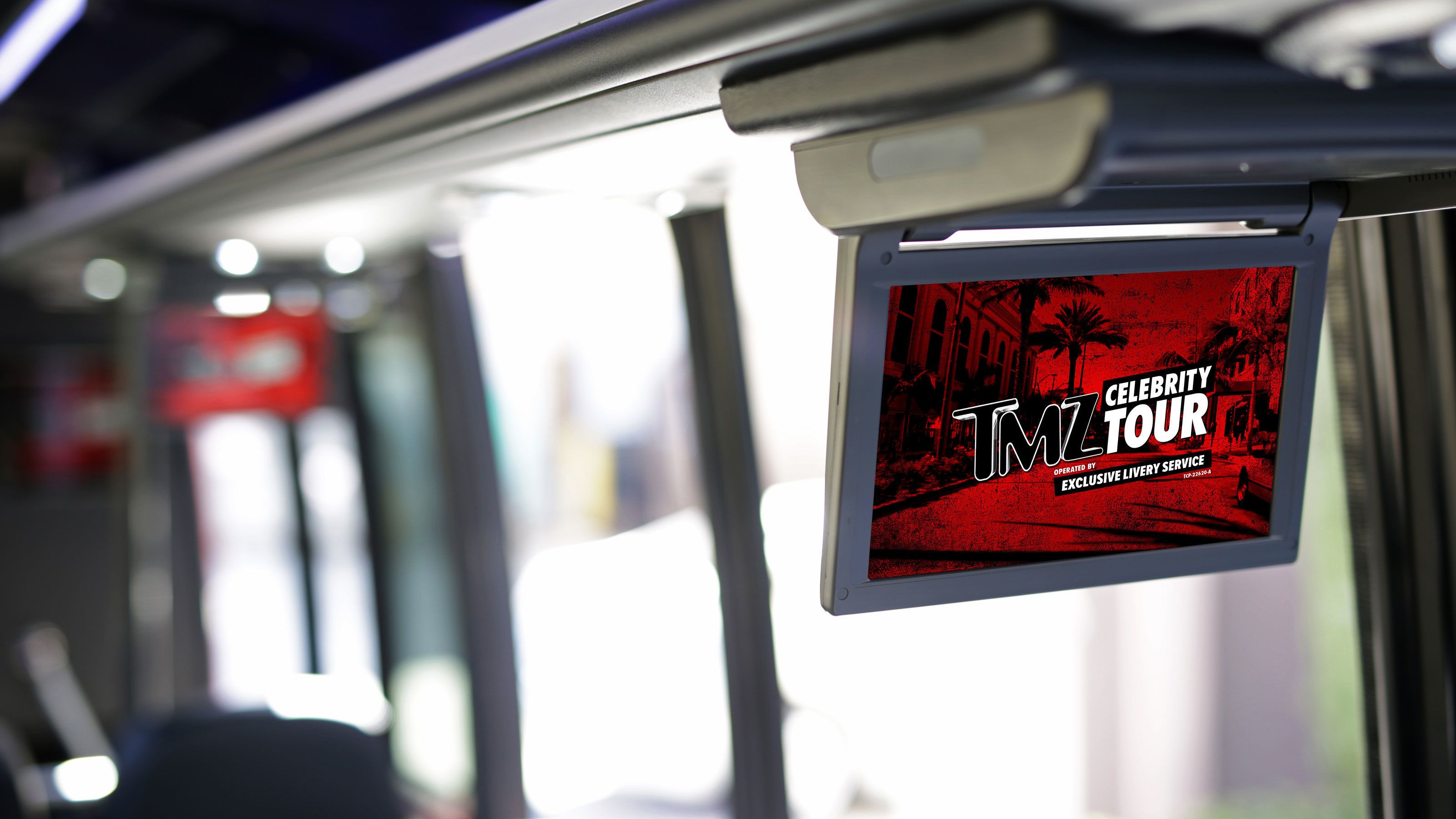 Drop down monitors in tour bus in Los Angeles