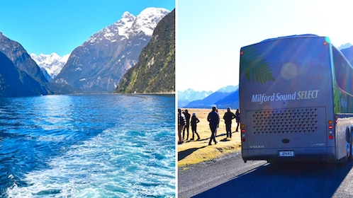 Combo images of cruise and coach bus transport in Queenstown