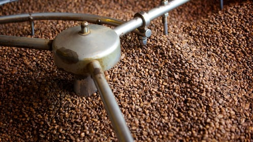 Large amount of coffee beans being mixed on Athens food tour