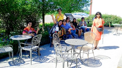Group catches some shade at a Niagara Winery patio