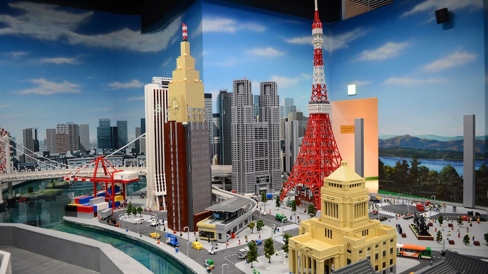 Buildings from around the world built out of legos at Legoland in Tokyo