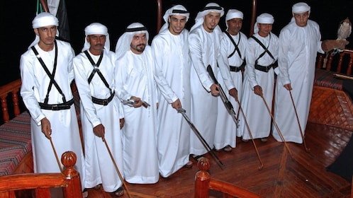 Performers onboard the Rustar Floating Restaurant in Dubai