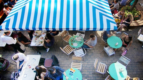 Outdoor dining area on the LGBT Soho Tour in London