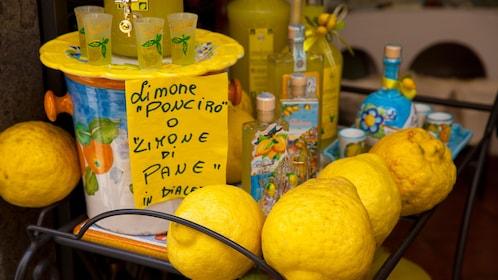 Fresh made limoncello on the Amalfi Coast