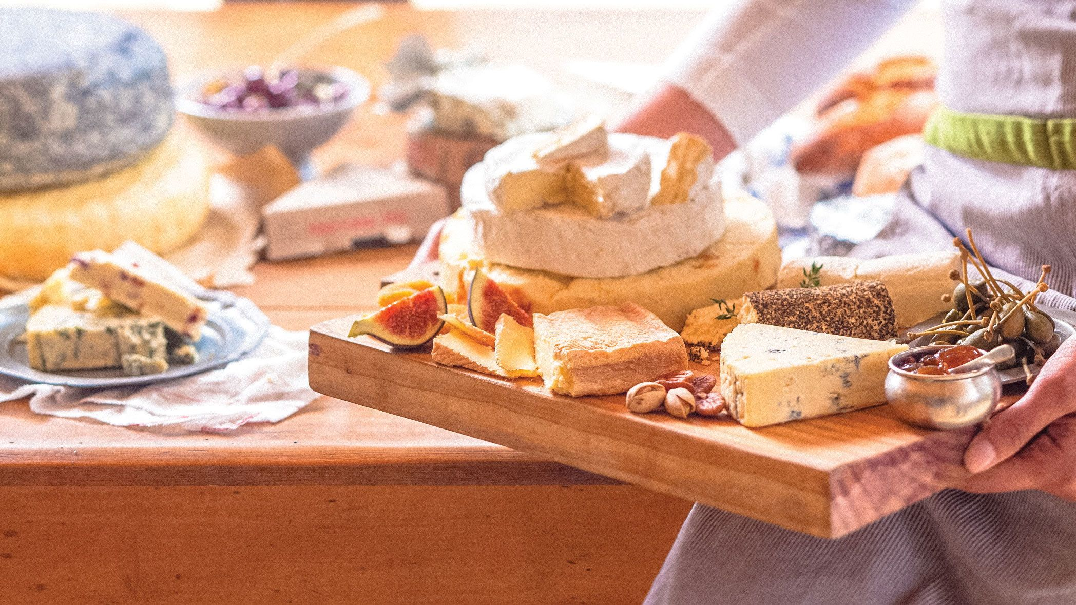 Cheese platter prepared at winery in Cape Town
