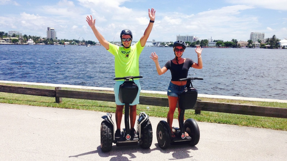 Show item 5 of 5. Tourists posing on segways in Fort Lauderdale