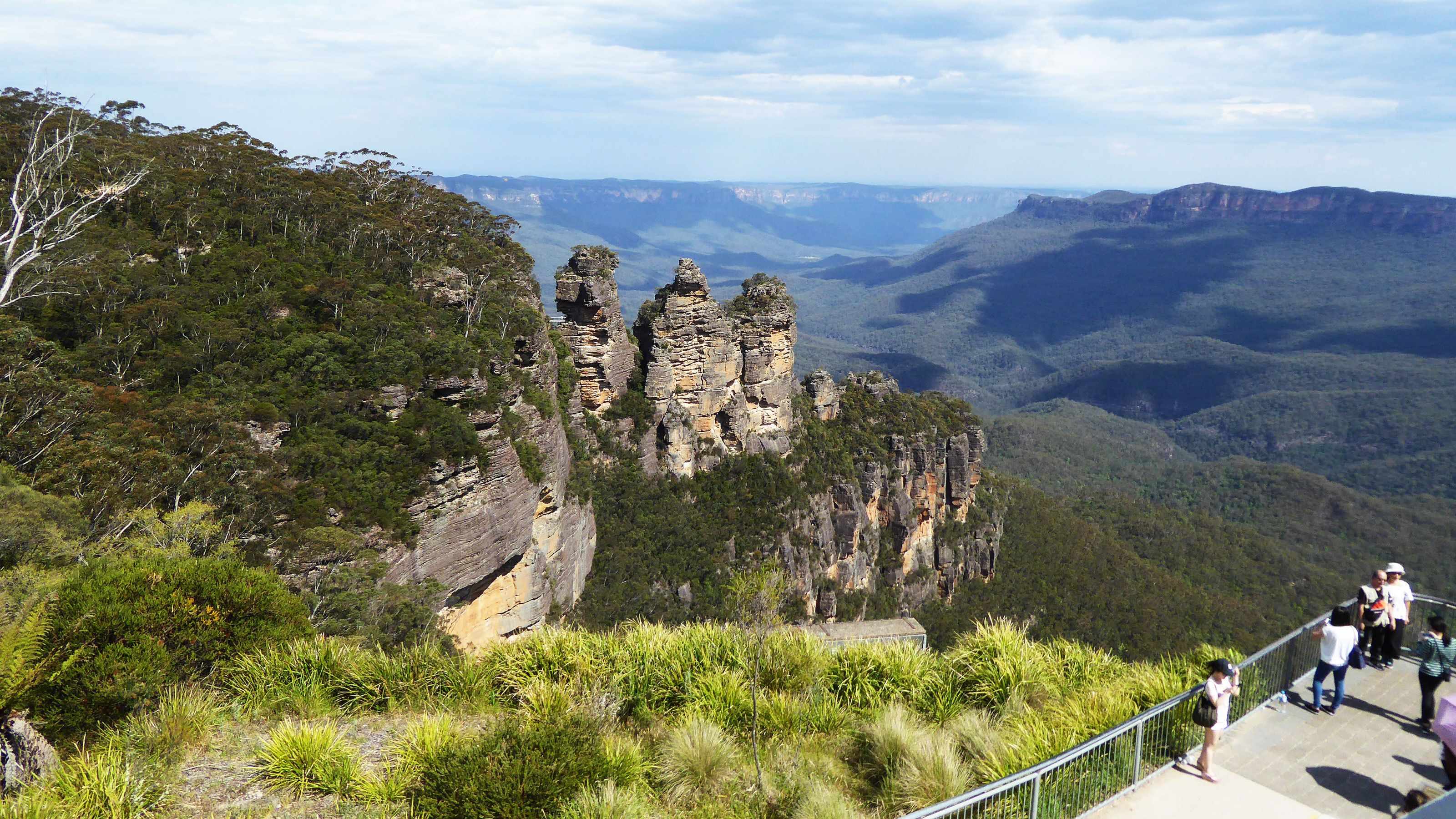 Tourists viewing at the landscape of the blue mountains