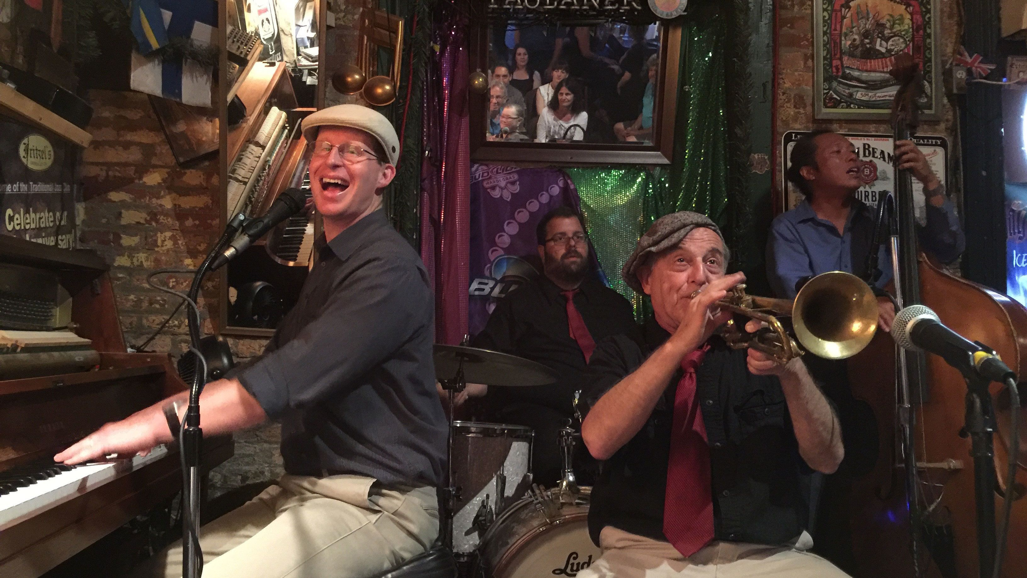 Musicians playing in bar in New Orleans