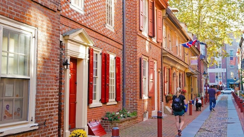 View down street of historical buildings and cobblestone street in Philadelphia