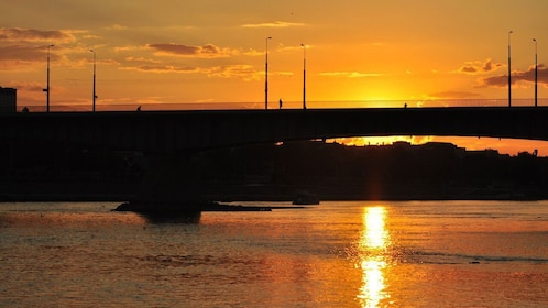 Beautiful view of a bridge at sunset in Warsaw