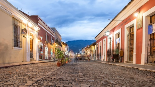 View down street at twilight in Guatemala City