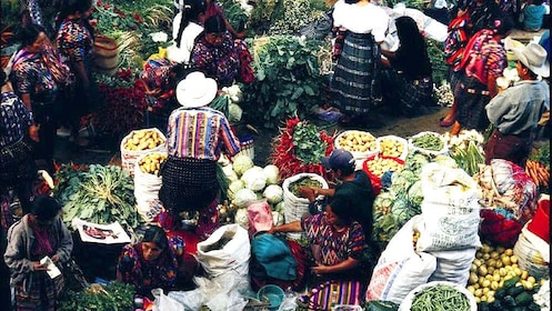 View of the bustling market in Guatemala City