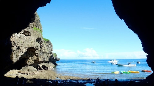 Sunny day view of the Cliffside Kayaking Adventure Tour in Okinawa, Japan
