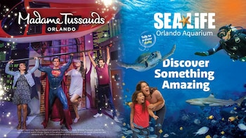 Kort til to seværdigheder: SEA LIFE Aquarium og Madame Tussauds Wax Attract...