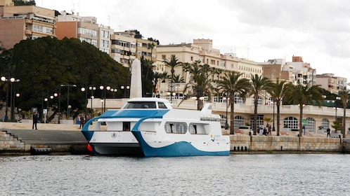 Tour boat moored at dock in Cartagena