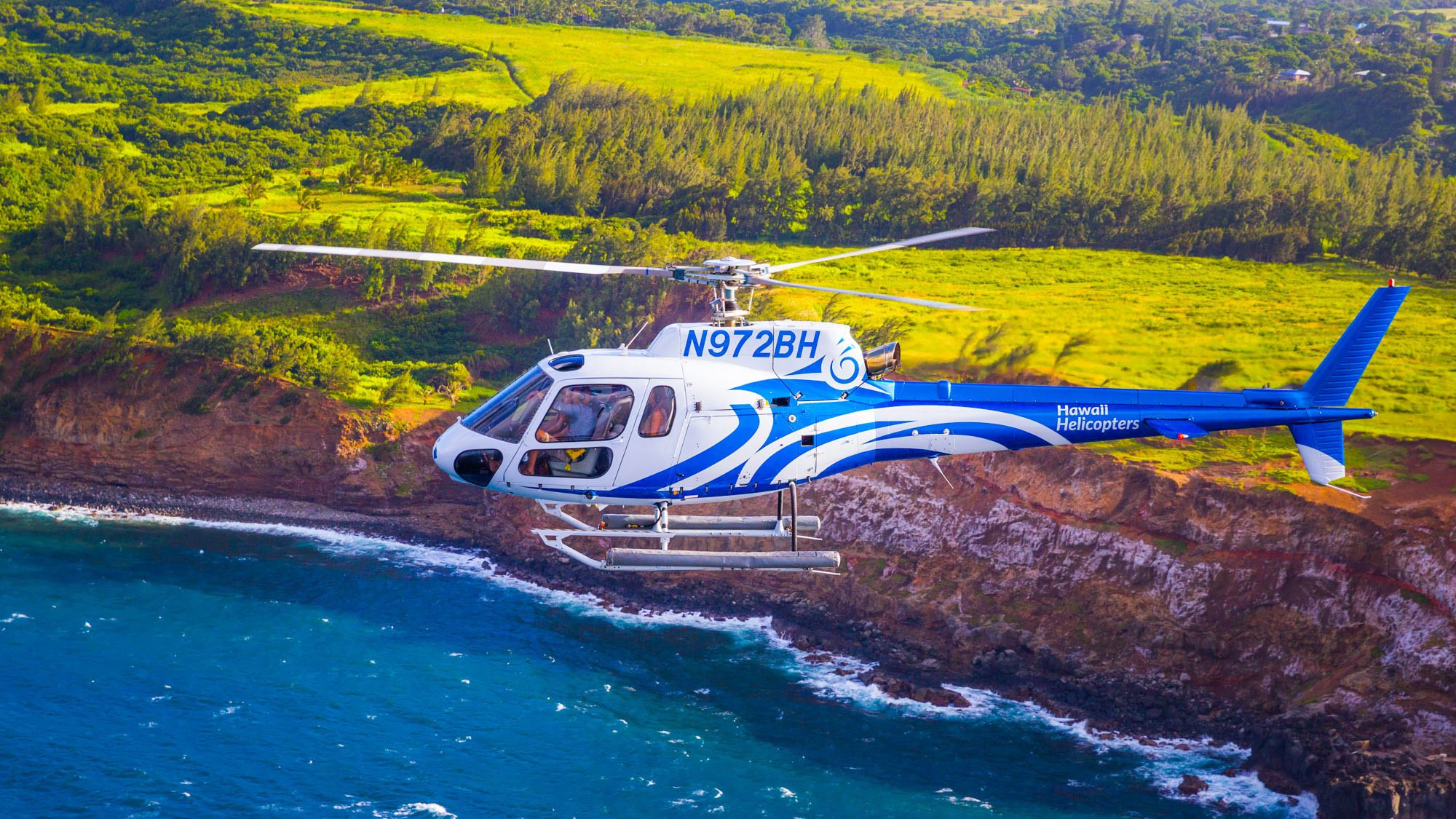 Helicopter flying over Maui