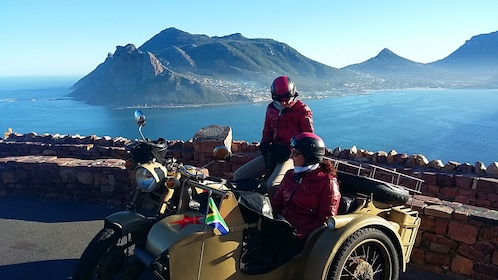 Motorcycle and side car near the coast of Cape Town
