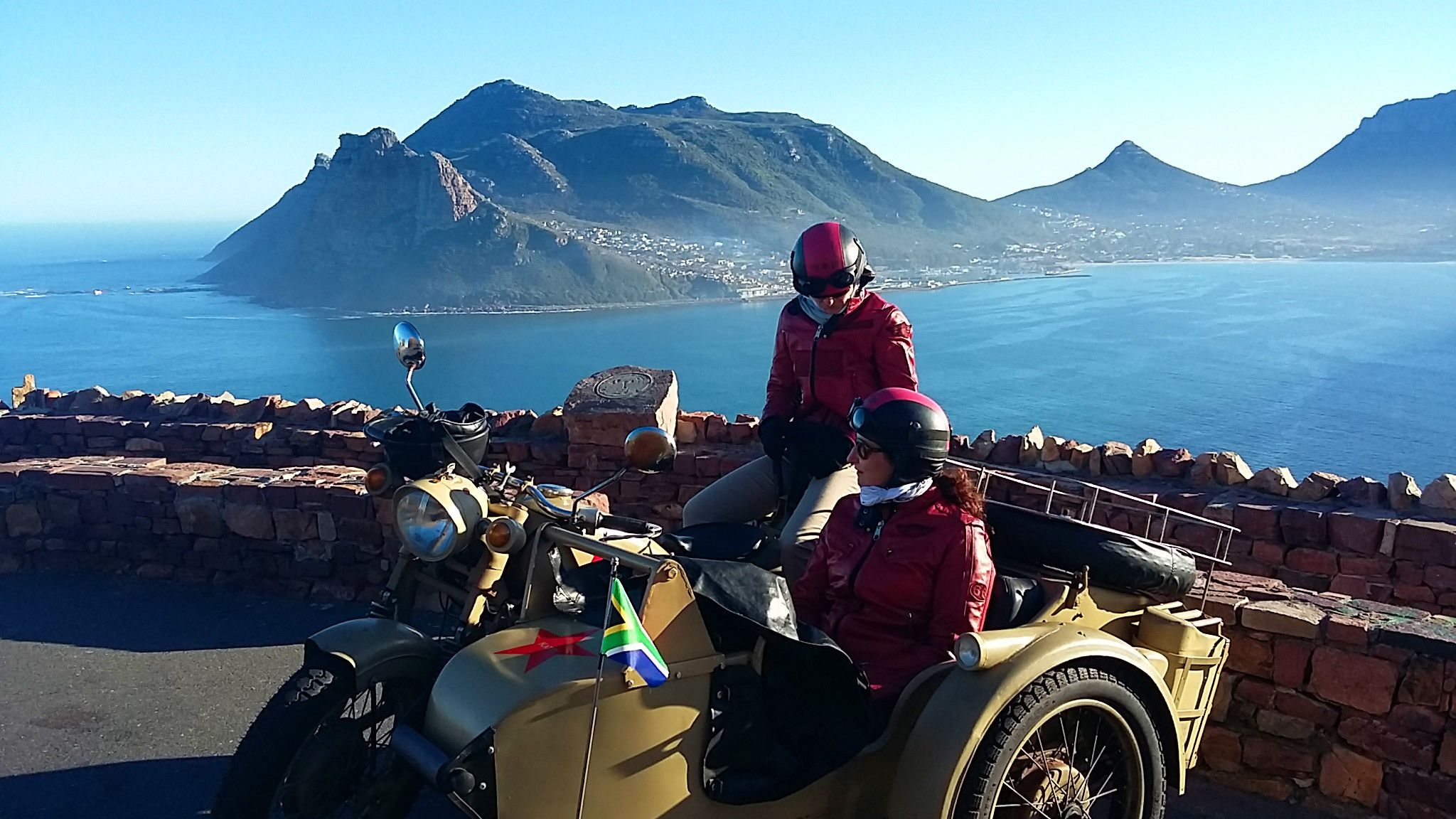 Motorcycle and side car on the coast of Cape Town