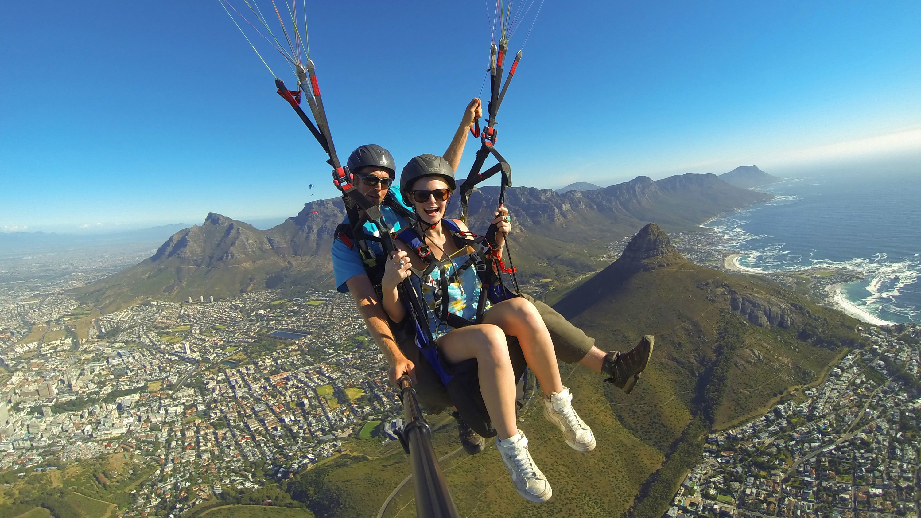 Skydivers above Cape Town