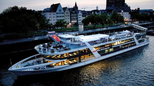 Cruise ship for evening cruise in Cologne