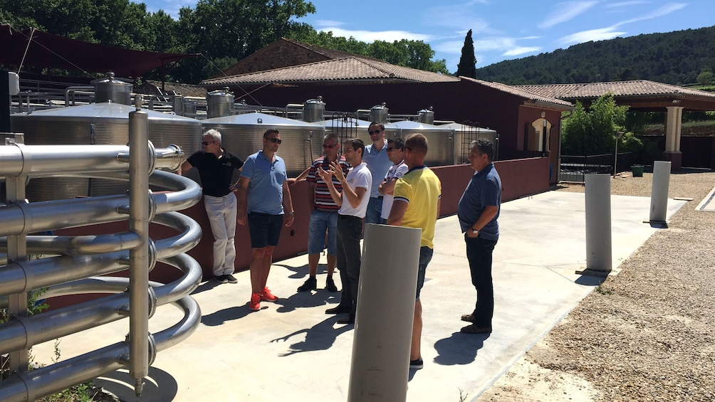 Charger l'élément 3 sur 5. Tour guide discussing wine making process with group in Nice